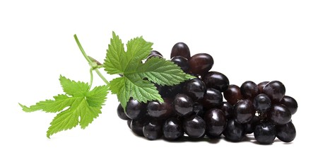 black grapes and leaf isolated on white background