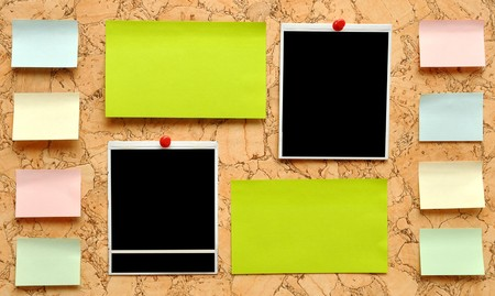 bulletin board: bulletin board with notes, business cards and old blank