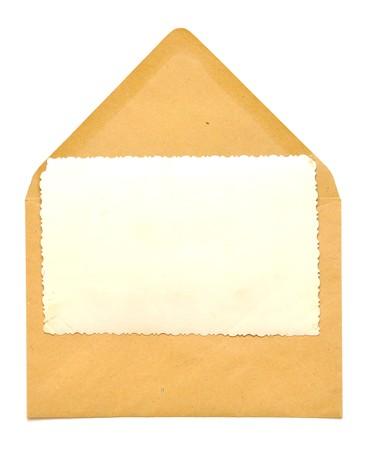 vintage blank frame on paper envelope photo