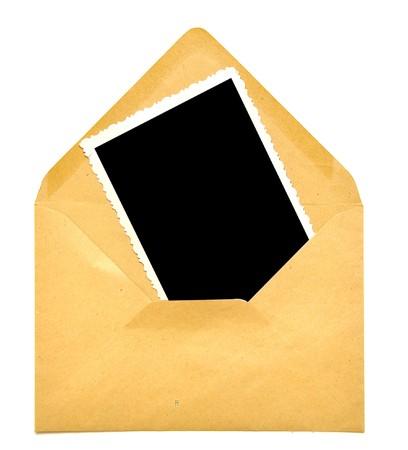 vintage blank photo frame on paper envelope photo