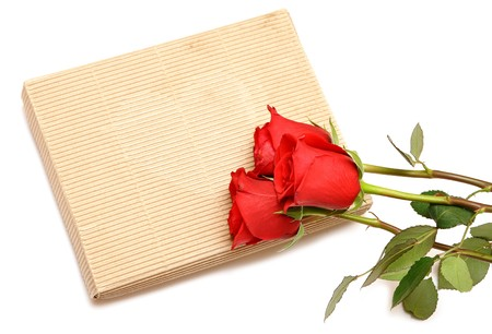red roses and gift box on white background Stock Photo - 8229231