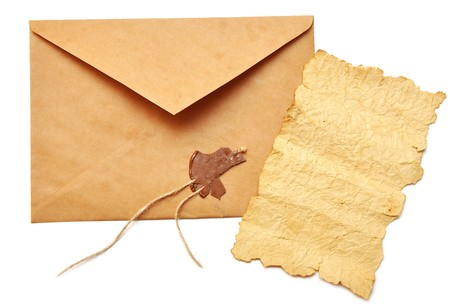 opened: opened envelope with the seal broken and old paper