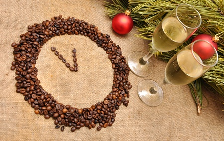 coffee clock from the grain. five minutes before the new year photo