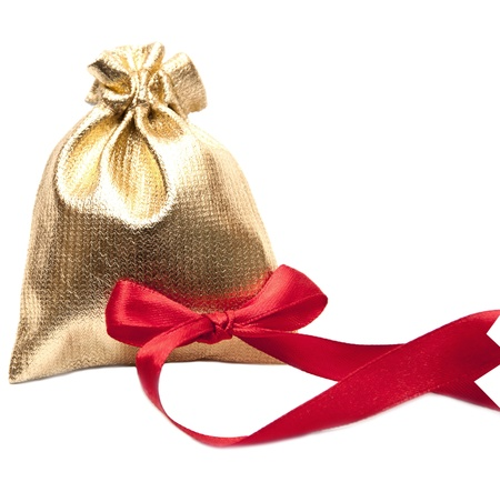 open bag of gifts isolated on a white background photo
