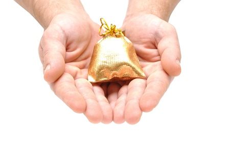 Hand with gift on white background  photo