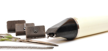 vintage set of tools for cutting hair on white Stock Photo - 8446967