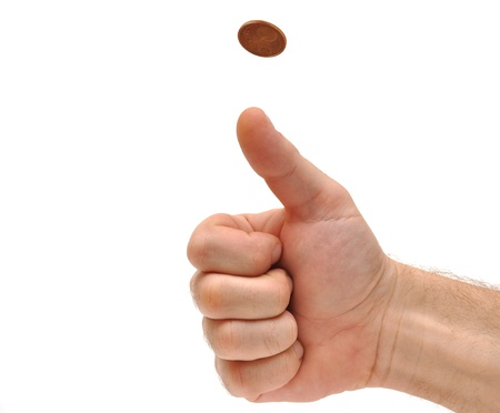 coin toss: Mans hand throwing up a coin to make a decision on white Stock Photo