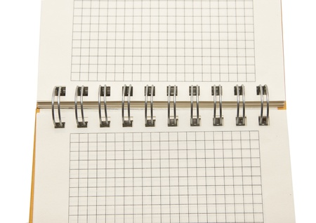 spiral notebook background isolated on white  photo