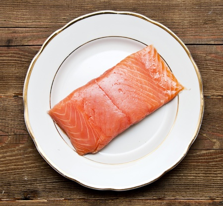 fresh uncooked red fish fillet on plate  photo