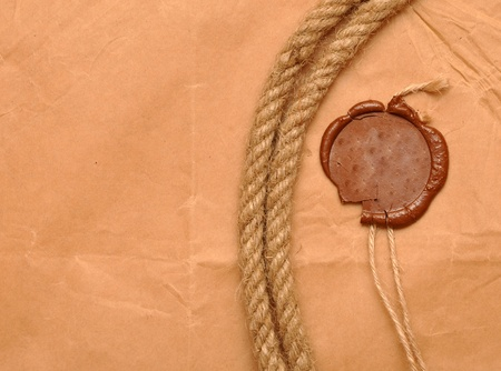 wax seal and rope on paper Stock Photo - 8663893