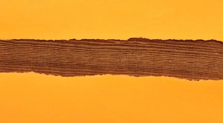 orange torn paper on wood background photo