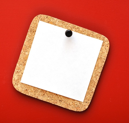 empty paper pressed the black pushpin to the red background Stock Photo - 8787932