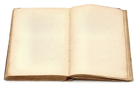 an old book with blank yellow stained pages on white photo