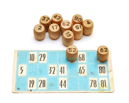 loto: Old bingo cards and numbers on white