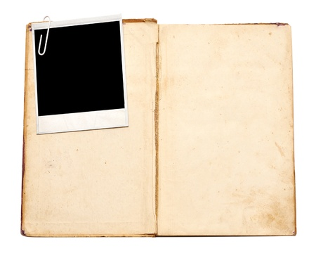 photo album: old book with vintage photo on white background