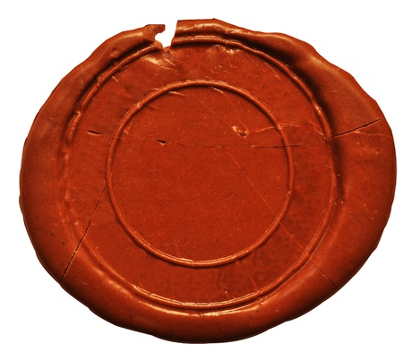 authenticity: Empty wax seal  on white Stock Photo