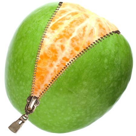 orange  inside apple  with zipper isolated on white  photo