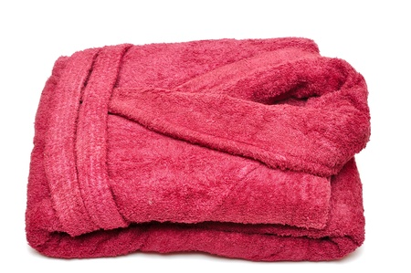 red bathrobe: Red bathrobe on a white background  Stock Photo