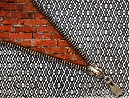 old brick wall behind a iron wall  photo