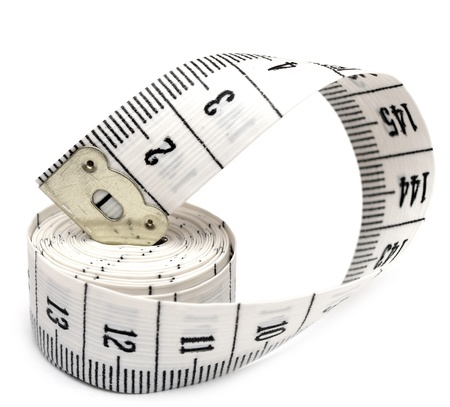 millimetre: white measuring tape isolated on white background.