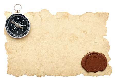 threadbare: seal wax and compass on old paper background