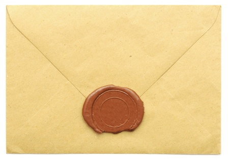 antique stamps: sealed brown envelope isolated on white background  Stock Photo