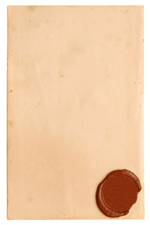 Old paper with a wax seal on a white background photo