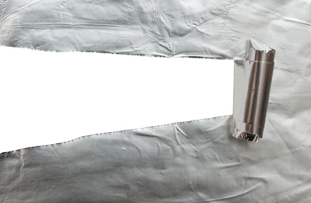 white background visible through the  foil paper wrapped  photo