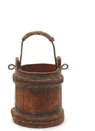 water bucket: old wooden bucket on white background