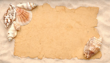 Shells and old empty paper sheet with sand  photo