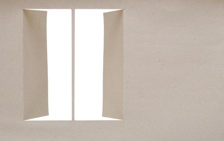 gray cardboard with opening window  photo