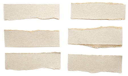 Collection of torn cardboard banners on white Stockfoto