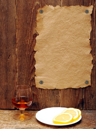 Old paper tacked to a wood wall Stock Photo - 9223275