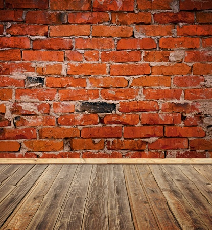 old room with brick wall and wood floor Stock Photo - 9223271