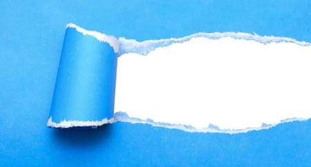 white background visible through the blue paper wrapped