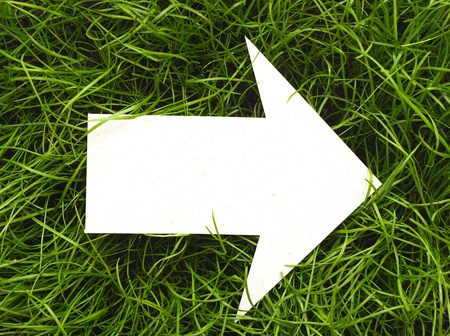Cardboard navigation arrow on a green grass photo
