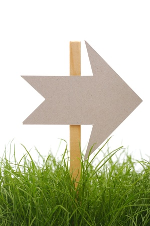 cardboard direction sign on green grass Stock Photo - 9331021