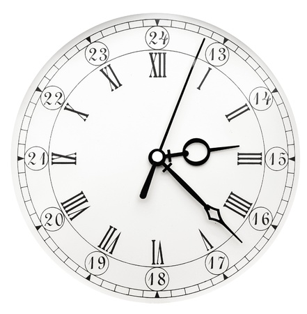 hands  hour: Vintage clock on white background Stock Photo