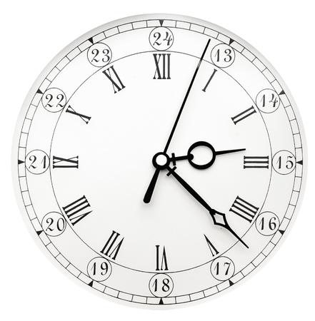 clock face: Vintage clock on white background Stock Photo