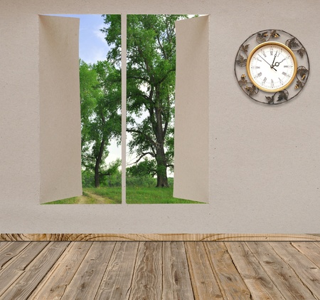 Empty room with wall clock overlook a beautiful landscape view Stock Photo - 9597788