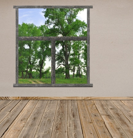 Empty room with open window overlook a beautiful landscape view  photo