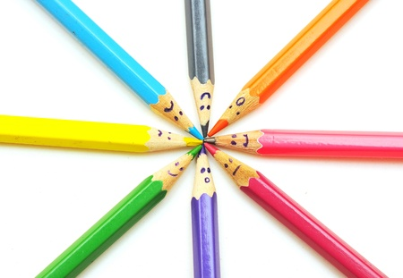 Happy group of pencil faces as social network isolated on white Stock Photo - 9597683