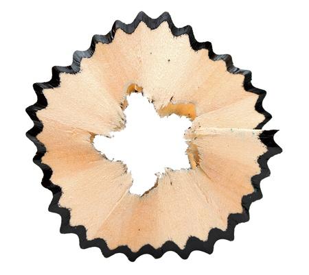 black pencil shavings isolated on white  photo