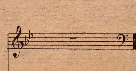 music notes on old paper sheet, to use for the background Stock Photo - 9598073
