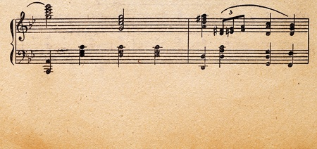 hymn: music notes on old paper sheet, to use for the background