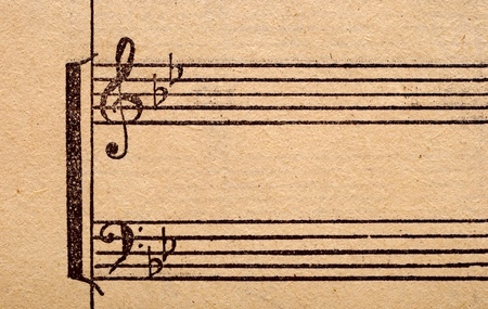 music notes on old paper sheet, to use for the background Stock Photo - 9598074