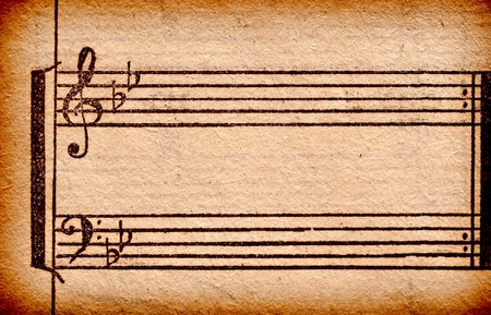 muziek notities op oude vel papier, te gebruiken voor de achtergrond