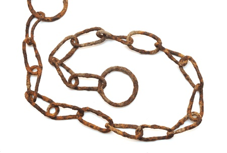 very old rusty chain isolated on a white background  Stock Photo - 9598002