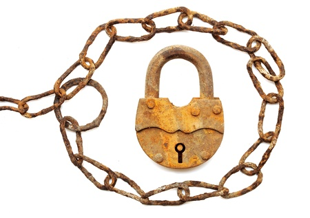 vintage padlock and very old chain isolated on white background Stock Photo - 9598069