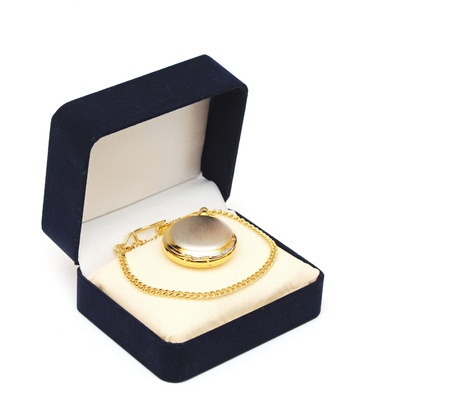 Black box with golden watch pocket on white background photo